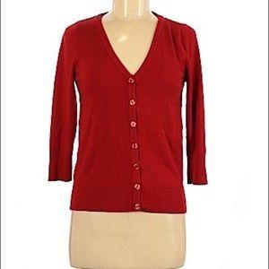 ModCloth Red 3/4 Sleeve Cardigan